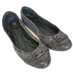 Womens ISOLA Brianne 8M Black Leather Flat Shoes